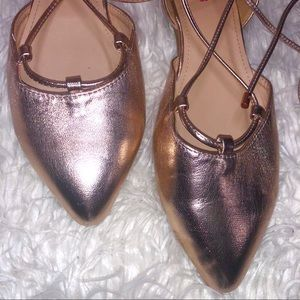 JustFab Shoes - JustFab Rose Gold Tie Up Flats